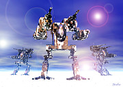 Fighters Prints - Mech Trianary In Snow Camoflauge Print by Curtiss Shaffer
