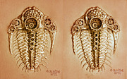 Featured Reliefs Metal Prints - Mecha-Trilobite 4 - Stereogram 3D Metal Print by Baron Dixon