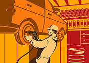 Pneumatic Drill Prints - Mechanic Automotive Repairman Retro Print by Aloysius Patrimonio