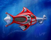 Featured Tapestries Textiles Prints - Mechanical Fish 1 Screwy Print by David Kyte