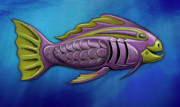 Aquatic Digital Art Metal Prints - Mechanical Fish 4 Harley Metal Print by David Kyte