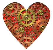 Mechanism Digital Art Metal Prints - Mechanical Heart Metal Print by Michal Boubin