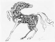 Mechanical Drawings - Mechanical Horse by Victoria  Shea