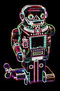 Neon Digital Art - Mechanical mighty sparking robot by DB Artist