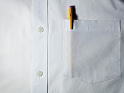 Shirt Framed Prints - Mechanical Pencil In White Shirt Pocket. Framed Print by Ballyscanlon