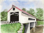 Covered Bridge Painting Metal Prints - Mechanicsville Rd Bridge Metal Print by Laurie Anderson