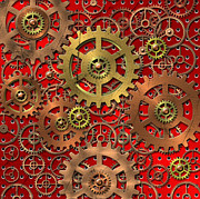 Gears Mixed Media Prints - Mechanism Print by Michal Boubin