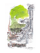 Park Scene Drawings Prints - Medici Grotto Paris Print by Marilyn MacGregor