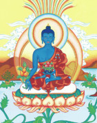 Tibetan Art Paintings - Medicine Buddha by Carmen Mensink