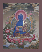 Tibetan Art Paintings - Medicine Buddha Thangka by Tag