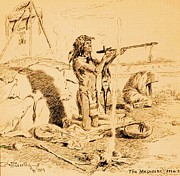 Americans Drawings - Medicine Man by Pg Reproductions