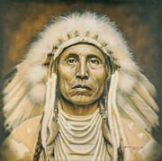 Native American Portrait Framed Prints - Medicine Man Framed Print by Tim  Scoggins