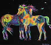 Pinto Paintings - Medicine Ponies by Louise Green