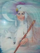 Staff Paintings - Medicine woman by Christine Winters