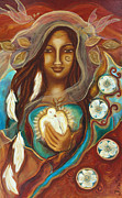 Peace Doves Paintings - Medicine Woman by Flora Marie