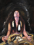 Medicine Painting Prints - Medicine Woman Print by J W Baker