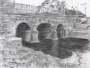 Bridge Drawings - Medieval bridge by Horacio Prada