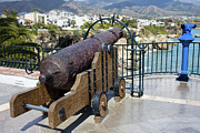 Artillery Metal Prints - Medieval Cannon at the Balcon de Europa Metal Print by Artur Bogacki