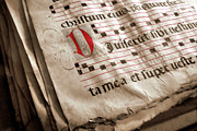 Words Background Prints - Medieval Choir Book Print by Carlos Caetano