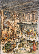 Manor Prints - Medieval Dining Hall Print by Granger