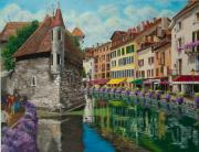 Village In Europe Posters - Medieval Jail in Annecy Poster by Charlotte Blanchard