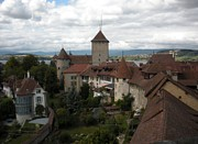 Medieval Village Prints - Medieval Murten Switzerland Print by Marilyn Dunlap