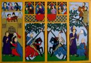 Knights Castle Painting Framed Prints - Medieval Scene Framed Print by Stephanie Moore