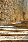 Wall Stone Wall Prints - Medieval Stone Steps With One Doorway At The Top. Print by Tracy Packer Photography