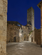 Tuscan Dusk Prints - Medieval Street at Twilight Print by Rob Tilley