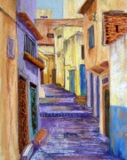 City Streets Pastels Posters - Medina in Tangier Poster by Candy Mayer
