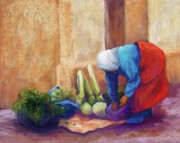 Old Street Pastels Posters - Medina Vendor Poster by Candy Mayer