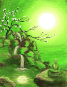 Cherry Blossoms Painting Prints - Meditating while Cherry Blossoms Fall in Green Print by Laura Iverson