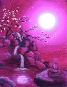 Cherry Blossoms Painting Prints - Meditating while Cherry Blossoms Fall Print by Laura Iverson
