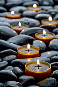 Black  Prints - Meditation Candles Print by Olivier Le Queinec