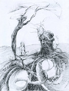 Pensive Drawings Originals - Meditation by Mark Johnson