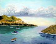 Portofino Italy Paintings - Mediterranean Bay by Larry Cirigliano