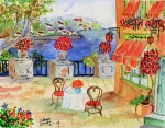 Bistro Paintings - Mediterranean Bistro by Arlene  Wright-Correll