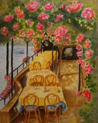 Bistro Paintings - Mediterranean Cafe by Bonnie Schallermeir