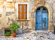 Weathered Shutters Framed Prints - Mediterranean door window and vase Framed Print by Silvia Ganora