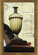 Old Wall Mixed Media Framed Prints - Mediterranean Urn Framed Print by AdSpice Studios