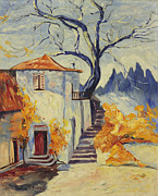 Villa Paintings - Mediterranean Villa by Ruth G Foster