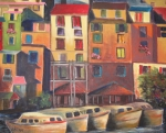 Streetlight Painting Posters - Mediterranean Waterfront Poster by Sharon Casavant