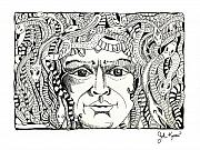 Medusa Drawings Metal Prints - Medusa Metal Print by John Keaton