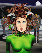 Medusa Digital Art Prints - Medusa Print by Keith Dillon