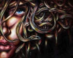 Face Framed Prints - Medusa No. two Framed Print by Hiroko Sakai