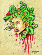 Medusa Mixed Media Metal Prints - Medusa Metal Print by William Depaula