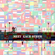 Flags Paintings - Meet Each Other by Stefan Kuhn