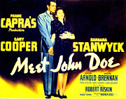 Films By Frank Capra Posters - Meet John Doe, Poster Art, Gary Cooper Poster by Everett