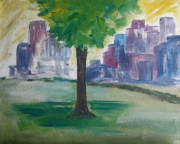 Landscapes Tapestries Textiles Originals - Meet me by our Tree in Central Park by Julie Lueders
