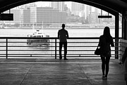 Hong Kong Art - Meet Me By The Bay  B and W by Valentino Visentini